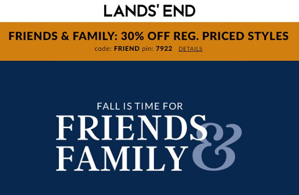 Lands End Sale – Friends & Family 30% OFF With Coupon Code