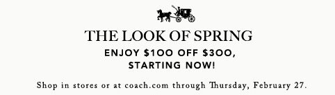 Coach Hand Bags – $100 off $300 Purchases