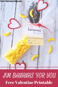 I'm Bananas for You Free Valentine Printable Card