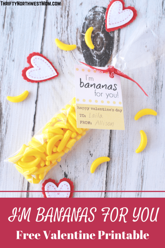 I'm Bananas for You Free Valentine Printable Card