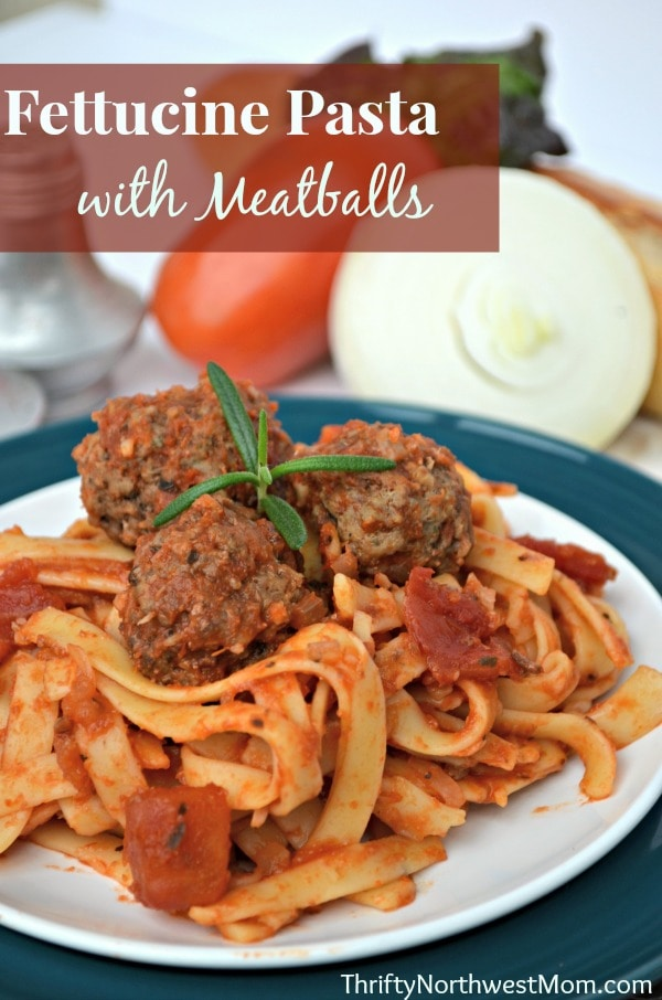 Fettucine Pasta and Meatballs