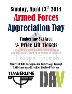 Discount Ski Tickets for Military & Veterans – 1/2 Price Tickets on April 13th at Timberline