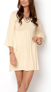 Creme White Silk-Trim Empire-Waist Dress