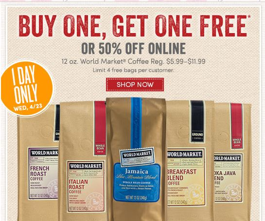 Cost Plus World Market Coffee Sale