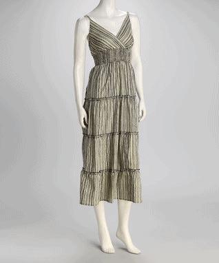 Black & Ivory Smocked Maxi Dress - Women