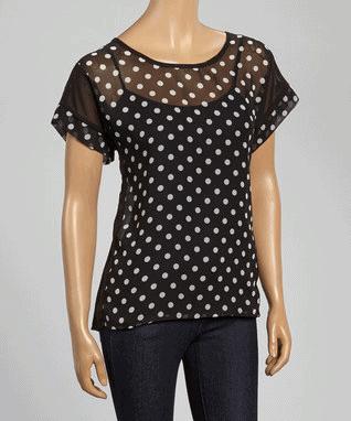 Black & White Polka Dot Scoop Neck Top - Women