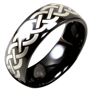 Light Tungsten Black Plated Ring with Laser Woven Design