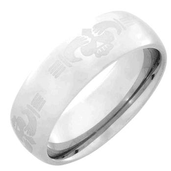 Light Tungsten Domed Sharing Heart Ring