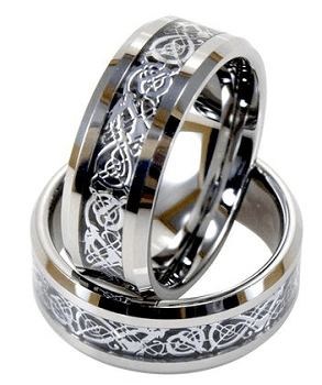 Light Tungsten Ring With Silver Dragon Inlay