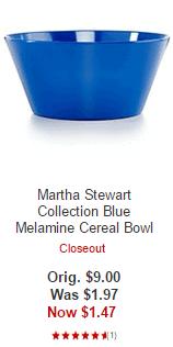 Martha Stewart Collection Blue Melamine Cereal Bowl
