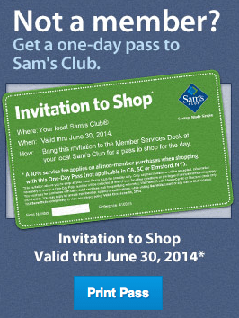 Sam's Club – Free Entrance for Non Members this Weekend!