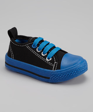 Black & Blue Faux Laces Classic Sneaker