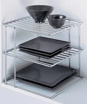 Chrome Three-Tier Corner Shelf