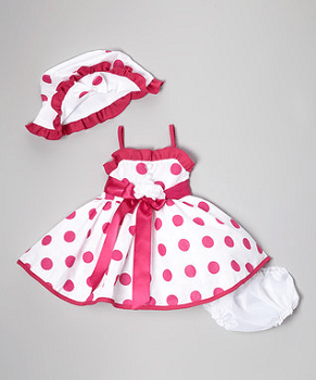 Fuchsia & White Polka Dot Dress Set - Infant