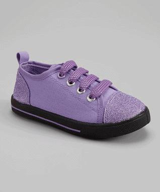 Lilac & Purple Faux Laces Glitter Sneaker