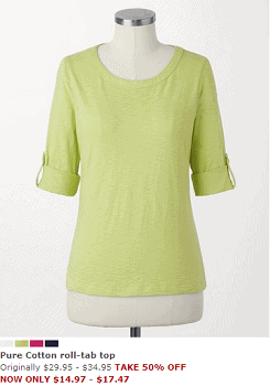 Pure Cotton roll-tab top