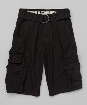 Black Belted Seven-Pocket Cargo Shorts - Boys