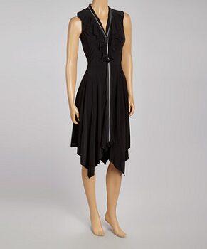 Black Ruffle Sidetail Sleeveless Zip-Up Dress