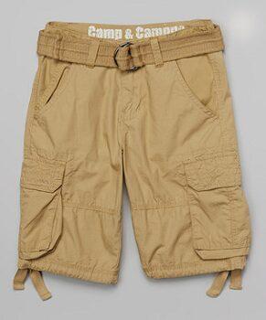 Khaki Belted Cargo Shorts - Boys