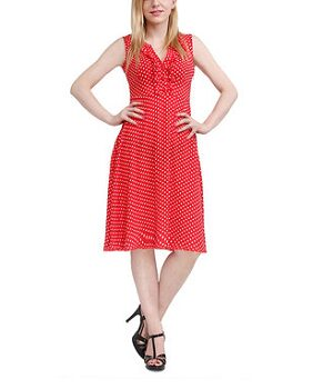 Red Polka Dot Sleeveless Dress