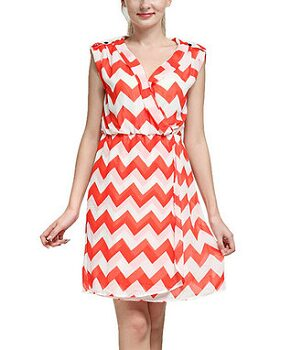 Red Zigzag Faux Wrap Surplice Dress