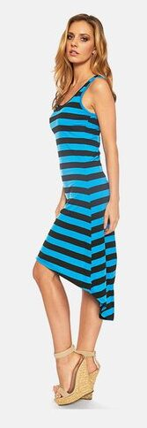 Striped Sleeveless High-Low Maxi Dress