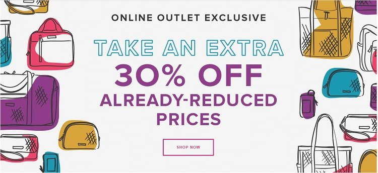 04a6e9d056b8a2 Vera Bradley Outlet – Get Up To 90% Off Online! Today Only! Free Shipping!