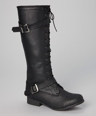 Black Buckle Lace-Up Combat Boot