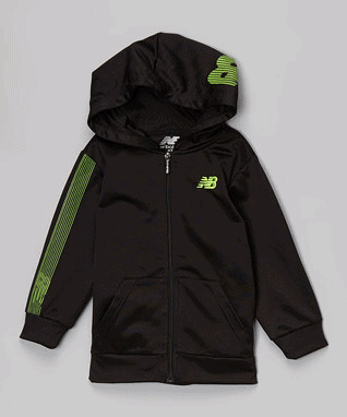 Black & Lime Hooded Track Jacket