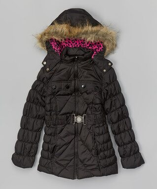 Black & Pink Belted Puffer Coat - Girls