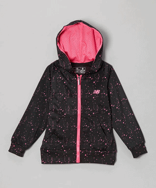 Black & Pink Dot Zip-Up Hoodie