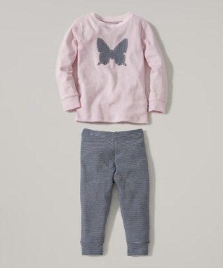 Blossom Butterfly Mini Stripe Organic Pajama Set - Toddler