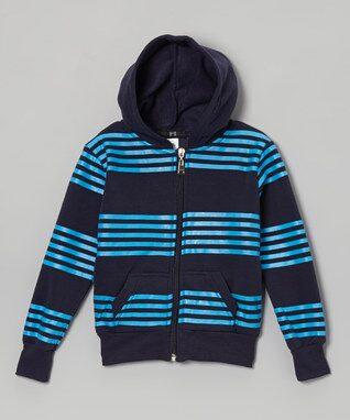 Blue Stripe Zip-Up Hoodie - Toddler