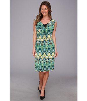 Calvin Klein Printed Double Layer Wrap Dress