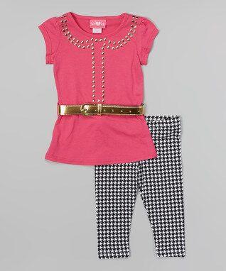 Fuchsia & Gold Belted Tunic & Leggings - Toddler & Girls