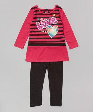 Fuchsia Stripe 'Love' Tee & Leggings - Infant, Toddler & Girls