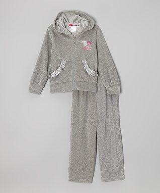 Gray 'Dance' Zip-Up Hoodie & Pants - Toddler & Girls