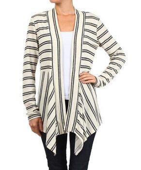 Gray Stripe Gathered Open Cardigan