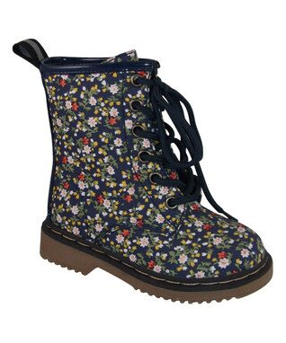 Navy Alyson Floral Boot