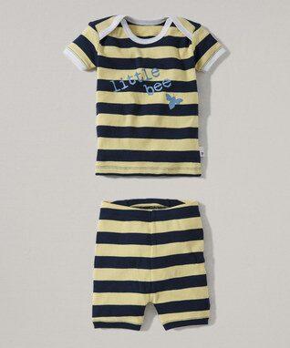 Navy Baby Bee Rugby Stripe Organic Pajama Set - Infant