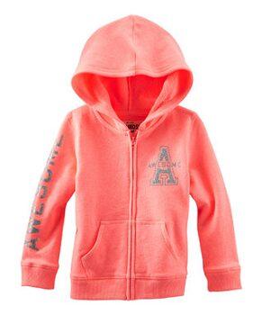 Neon Orange 'Awesome' Zip-Up Hoodie - Toddler & Girls