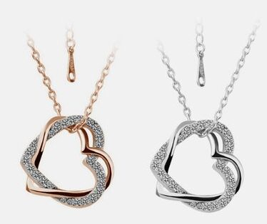 Open Heart Necklace Made with Swarovski Elements
