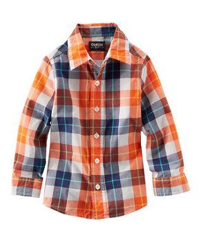 Orange Plaid Button-Up - Toddler & Boys