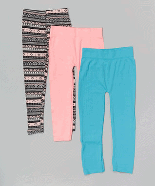 Pink, Blue & Fair Isle Leggings Set