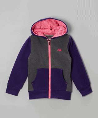 Purple & Gray Raglan Zip-Up Hoodie