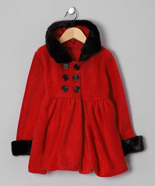 Red & Black Hooded Coat