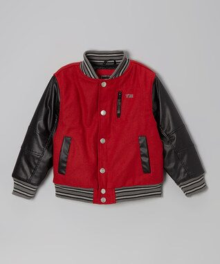 Red Snap-Front Varsity Jacket