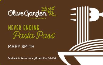 Olive Garden Unlimited Pasta Pass