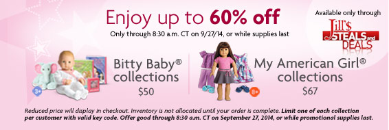 American Girl Dolls – Bitty Baby Deluxe Collection – 60-67% off!