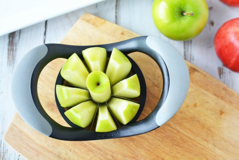 Cutting apple slices for peanut butter dip